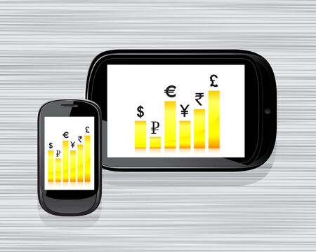 sns: phone with a graphic representation of characters of different currencies
