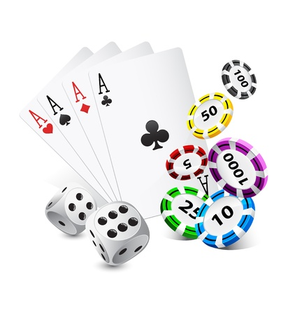 playing cards, casino chips and dice Vector