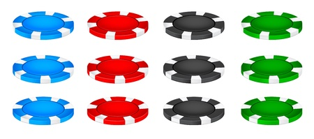 gambling chip: Poker chips lay on the columns