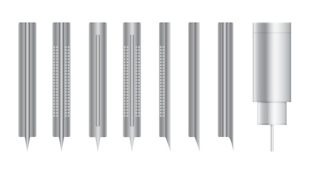 scrutiny: set of bifurcated needles for blood donation Illustration