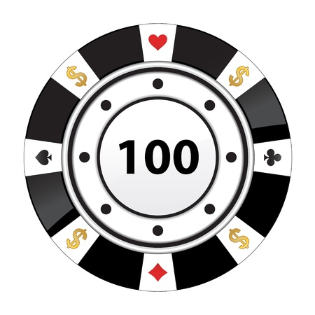 vegas sign: special black poker chip Illustration