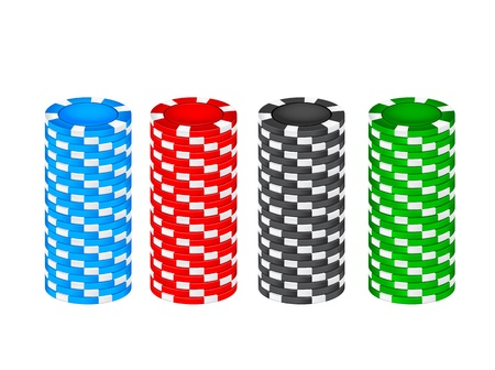 gambling chip: Pila de fichas sobre un fondo blanco Vectores