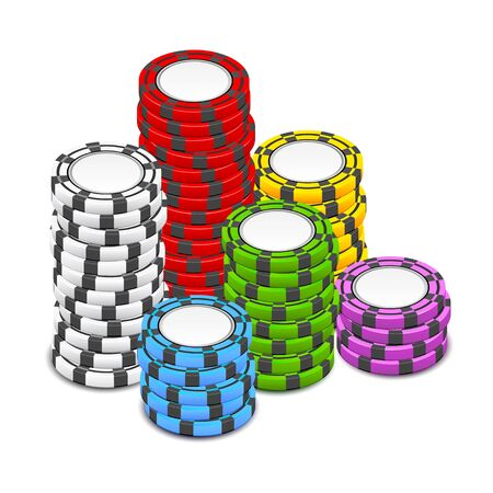 stack of poker chips Stock Vector - 13921490