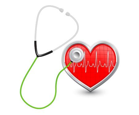 stethoscoop luistert naar het hart met een diagram Vector Illustratie