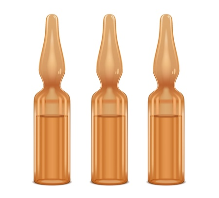 ampule: three ampoules of of brown color Illustration