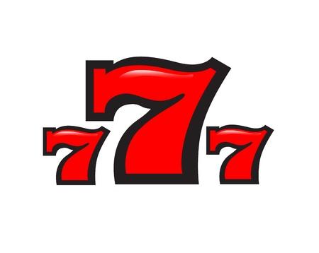 seven: three sevens on a white background Illustration