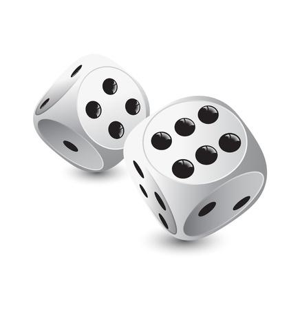 kostky: dvě bílé kostky na hazardní hry