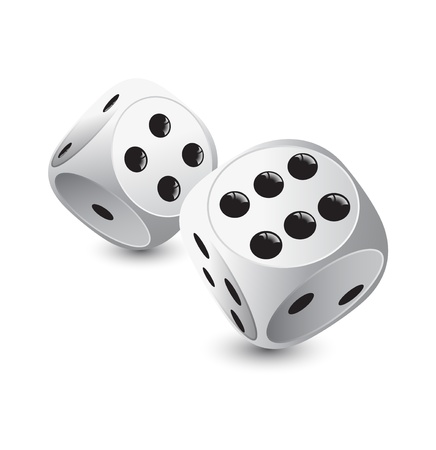 rolling: two white dice for gambling Illustration