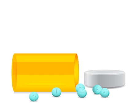 fell: yellow bottle fell and pill crumbled Illustration