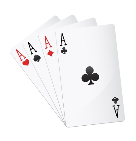 poker hand: ace four of a kind Illustration