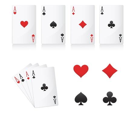 notions: ace poker cards set Illustration