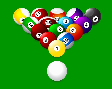 8 ball billiards: American triangle on a green background