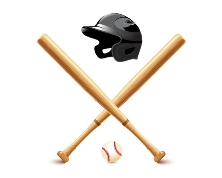 sports helmet: Baseball elements - bat, ball and accessories