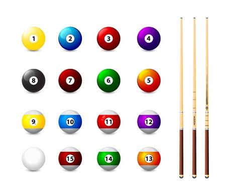 biljartballen iconen en drie cue