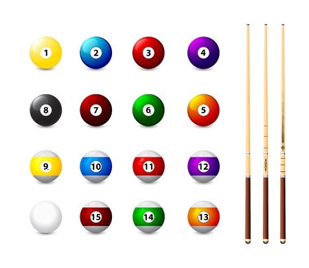 pool game: billiard balls icons and three cue