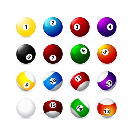 8 ball pool: billiard balls with a displaced center icons Illustration