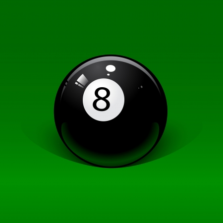 pool cue: Black billiard ball number eight on a green background