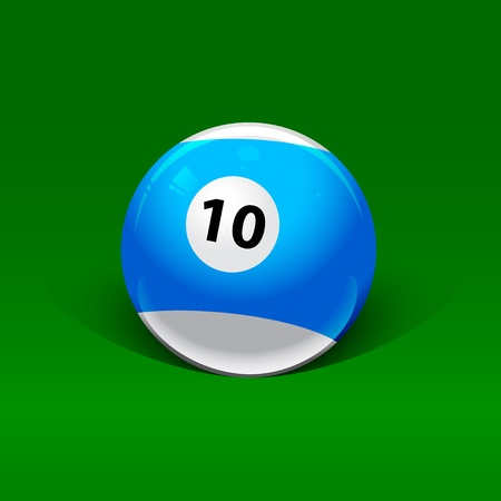 blue and white billiard ball number ten on a green background Stock Vector - 13920639