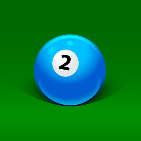 blue billiard ball number two on a green background Vector