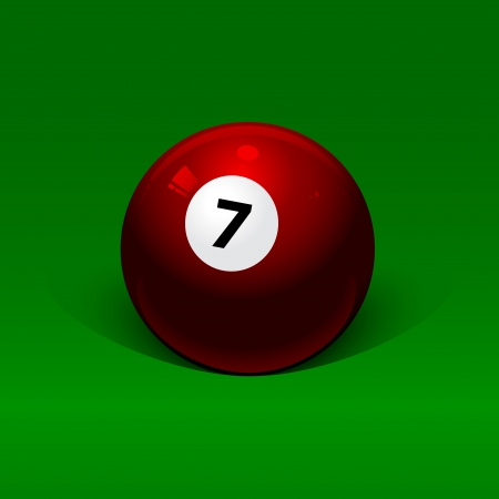 burgundy billiard ball number seven on a green background Vector