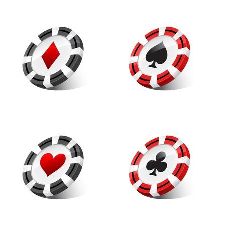 against white: casino chips against white background