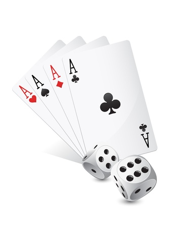 Casino dices and cards on white background Vector