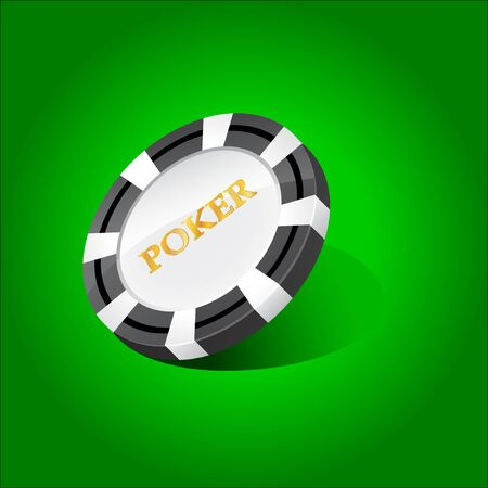 chip icon with an inscription poker Vector