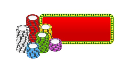 chips stacks over red banner Vector