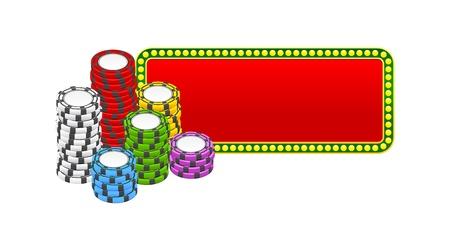 chips stacks over red banner Vector