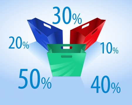 colorful shopping bags with discount Vector