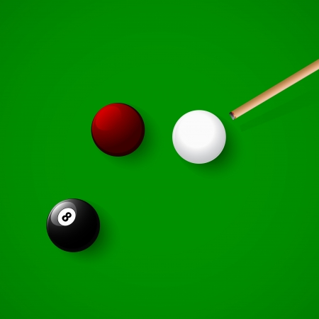 cue hits the white billiard ball Vector