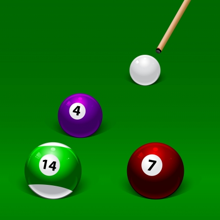 cue hits white pool ball on three billiard balls Vector