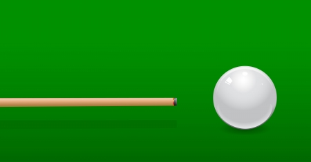 cue hits white pool ball Vector
