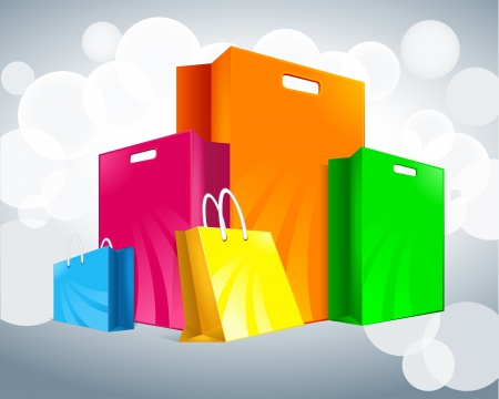 shopping bag: five multi-colored packages