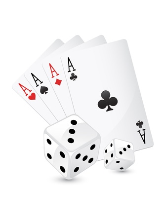 four aces and dice Stock Vector - 13920273