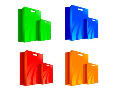four colorful shopping bags object Vector