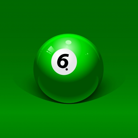 pool table: green billiard ball number six on a green background