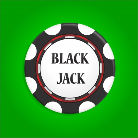 icon chip with an inscription black jack Vector
