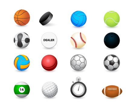 tennis ball: icon of sports balls and stopwatch