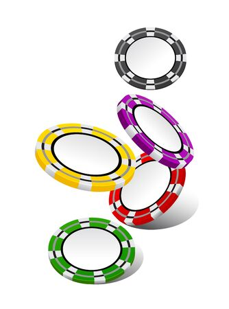 illustration of casino chips on white background Vector