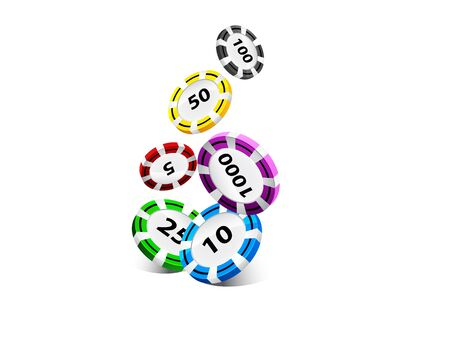 gambling chip: Illustration of Falling Poker Chips Isolated on White