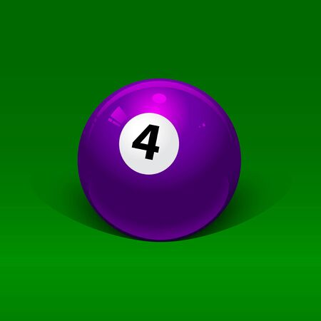 lavender billiard ball number four on a green background Vector