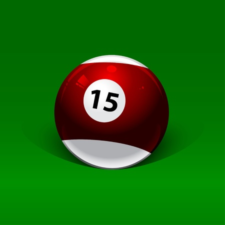 maroon and white billiard ball fifteen on a green background Vector