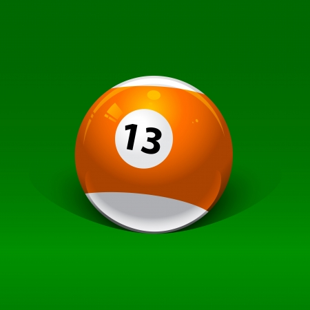 thirteen: orange and white billiard ball number thirteen on a green background