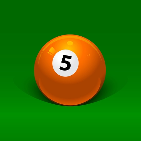 orange billiard ball number five on a green background Vector