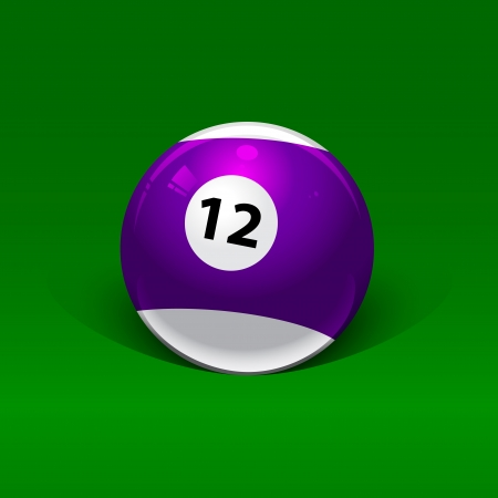 number twelve: purple and white billiard ball number twelve on a green background Illustration