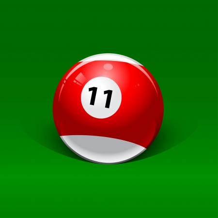 eleven: red and white billiard ball number eleven on a green background Illustration