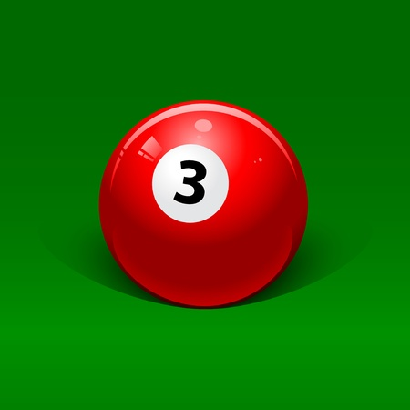 red billiard ball number three on a green background Vector