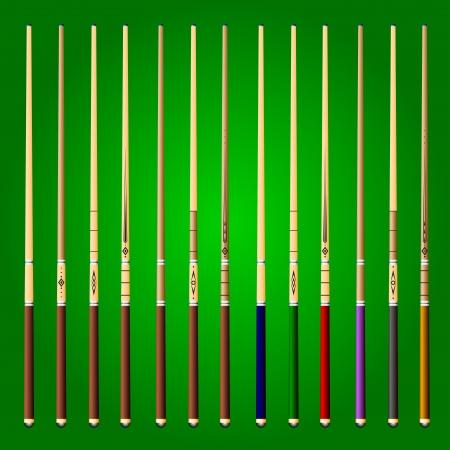 bola de billar: conjunto de iconos de señales sobre un fondo verde Vectores