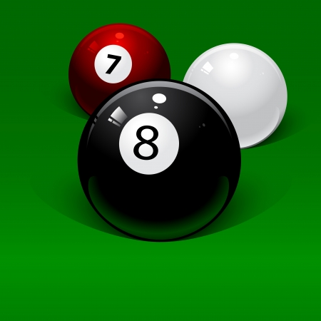 pool cue: three billiard balls on a green background